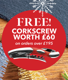 Free corkscrew worth £60 on orders over £195